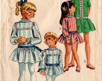 1969 GIRLS' DRESS PATTERN Simplicity #8671 Size 8 Drop Waist Sunday/Easter Dress Retro Fashion Vintage Sewing