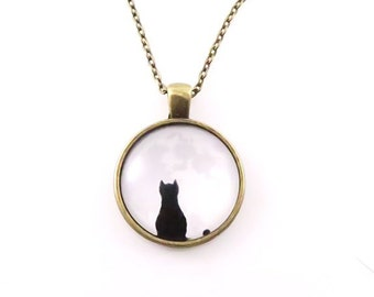 Cat in the Moon glass cabochon necklace