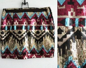 90s Aztec Tribal Sequinned Mini Skirt - S M