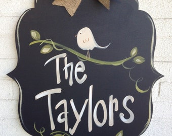 Welcome Sign, Door Art, Door Decor, Hand-Painted, Wreath