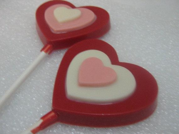 Triple layer heart lollipop sucker party favor