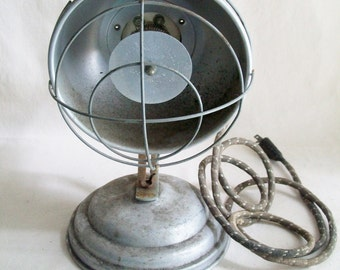 Vintage Industrial Heater Gray Metal Covered Cord Rusty Decor Man Cave