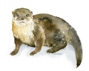 Otter Watercolor Painting Giclee Reproduction - 6 x 4 in - Nursery Art  - Fine Art Print - River Otter - Woodland Animals