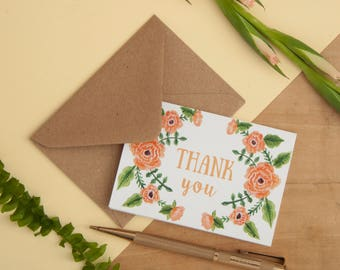 Set of 6 Mini Floral cards | Floral Print A7 Thank you Cards | Notecard Set | Correspondence | Mini Cards | A7 Card | Thank you Cards