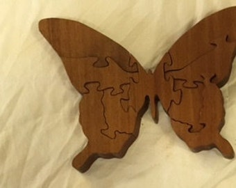 9 Piece Hand Made Wooden Butterfly Puzzle