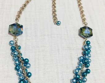 Chunky Pearl Necklace -Blue Beaded Jewelry