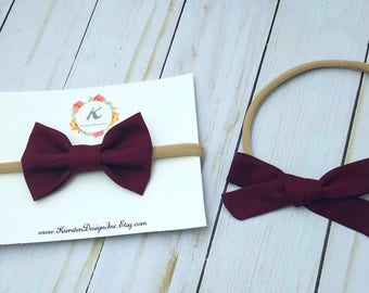 Burgundy nylon headbands - burgandy bows - hand tied bows - baby girl headbands - nylon headband set - headbands and bows - hair bows - bows