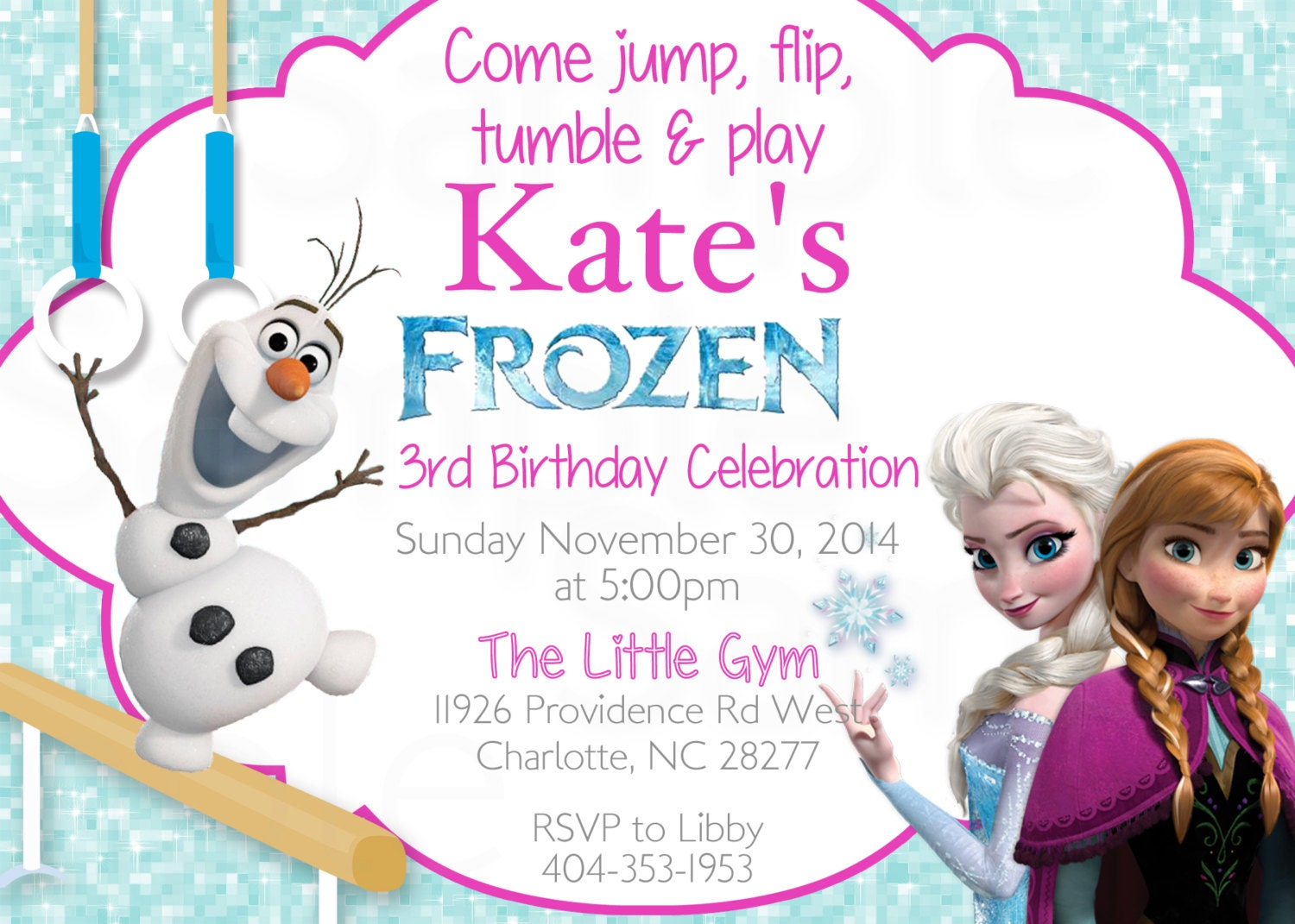 Frozen Olaf Queen Elsa Girls Gymnastics or Trampoline Birthday