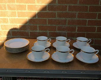 Vintage Victoria Czechoslovakia China Tea Set White With Gold Rim Set Of 6 Cups And Saucers With 6 Side Plates Mint Condition