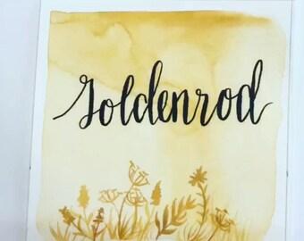 Goldenrod, watercolor, handmade paint, handmade watercolor, art, calligraphy, watercolor painting, artistic isle, gold, gift, christmas