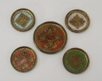 Vintage Florentine Coasters and Bottle Holder set of 5 Shabby Italian Hand Painted Colorful Coasters