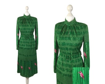 Novelty Print Dress | Green Tree Print Dress With Fuchsia Pink Birds | 1980's Shoulder Pads Dress