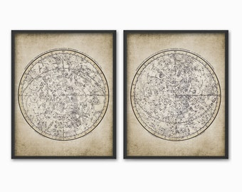Antique Astronomy Constellation Art Print Set of 2 - 1822 Astronomy Drawing - Northern Southern Hemisphere #782 - INSTANT DOWNLOAD