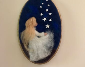 Needle felted Angel, Waldorf inspired, Wool Picture, Baby, Wall Decor,  White angel,  Angel with stars, Stars