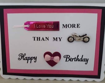 Handmade 'I love you more than my bike' greeting card