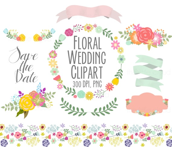 Spring Flowers Wedding Floral Clipart Digital Wreath