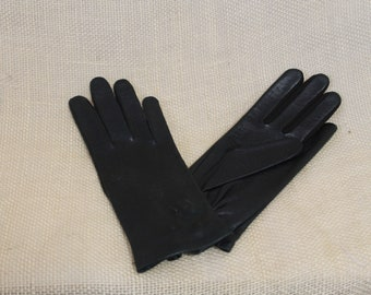 Black  Deerskin Lastic Leather Gloves by Fownes -  Washable
