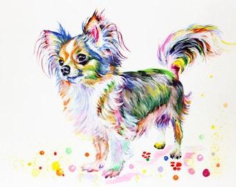 Chihuahua Custom Pet Portrait Custom Dog Portrait Original Painting Dog Drawing Dog art Chihuahua painting Colorful Dog portrait Watercolor