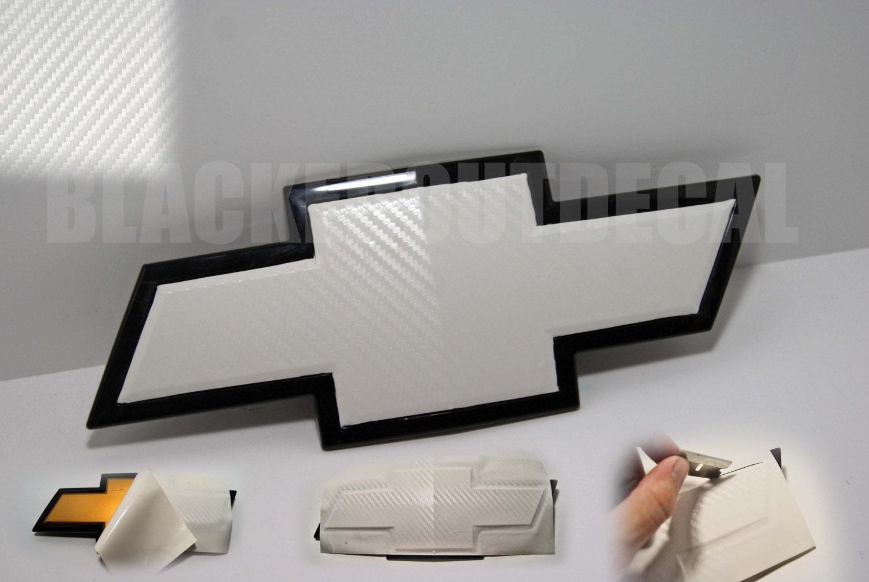2 WHITE Carbon Fiber Chevy Bowtie Vinyl Overlay Sheets Emblem