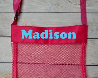 Personalized Sea Shell Bag, Personalized Beach Toy Bag, Shell Bag for Kids, Custom Beach Bag, Mesh Beach Bag, Mesh Shell Bag, Party Favor