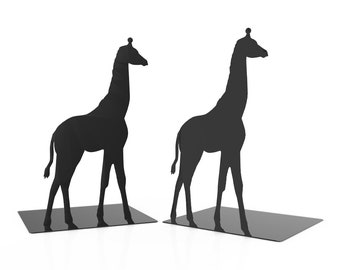 Giraffe Bookends - Metal Bookends - Unique Gift - Metal Art - Custom - Zoo Animal