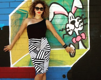 MADE TO ORDER Black and White Geometric Print Stretch Pencil Skirt