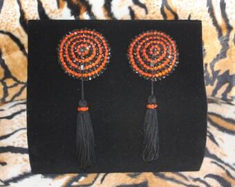 Burlesque Pasties Orange & Black Stripes Crystal Rhinestones with Rotating Tassels Halloween