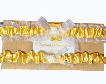 2 pcs (pair) Golden Bridal Garter Wedding Leg Garter Legs Ring Wedding Accessories