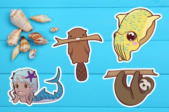 Vinyl waterproof stickers sloth sticker bunny sticker