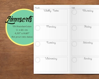 Weekly Planner, PDF file, Travelers notebook printable inserts, Standard size