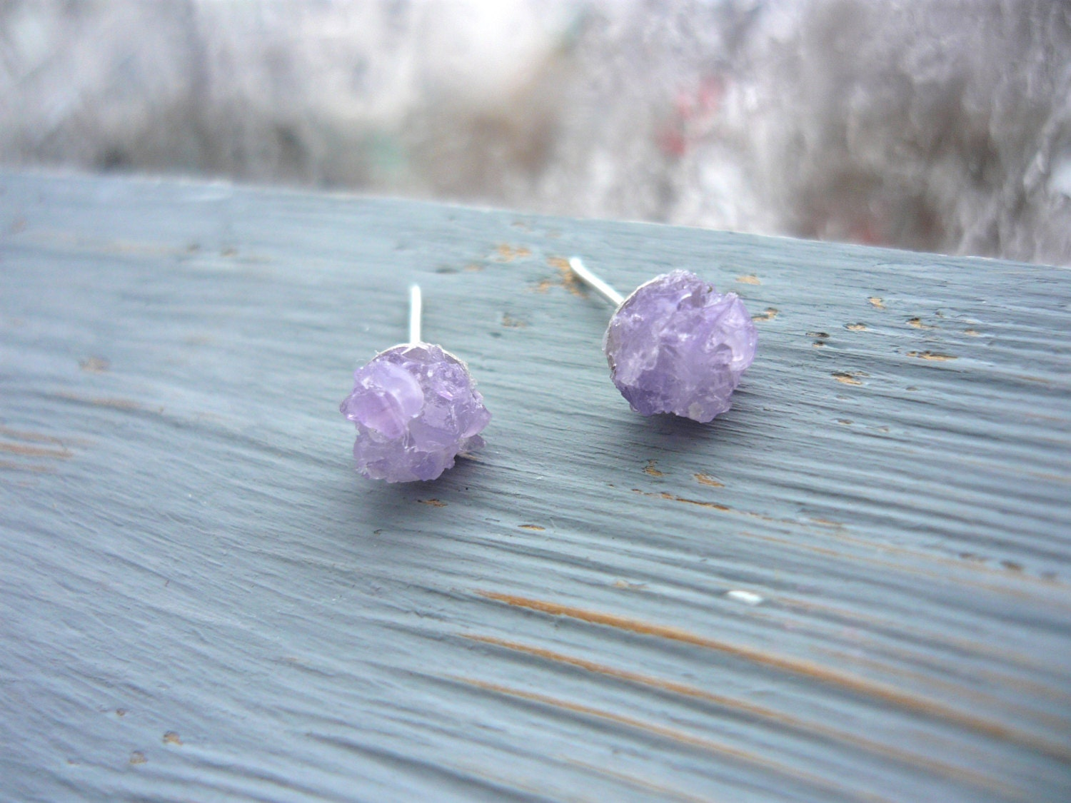 purple earring gemstone tone amethyst stone stud with sterling two silver earrings