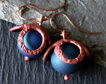 Rustic Copper Earrings, Hammered Copper, Geode Druzy Earrings, Quartz Druzy, Hippie Earrings, Boho Earrings, Blue Earrings, Jewelry Gifts