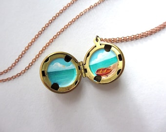 Tiny Hidden Vacation, Miniature Painting Inside Brass Locket, One of a Kind Artwork