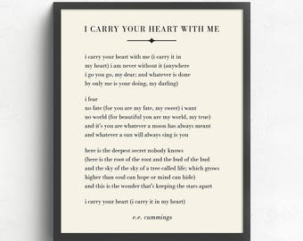 I Carry Your Heart With Me Wall Art E.E. Cummings Poem Literary Art Wedding Gift UNFRAMED  sc 1 st  Etsy & I carry your heart wall art | Etsy