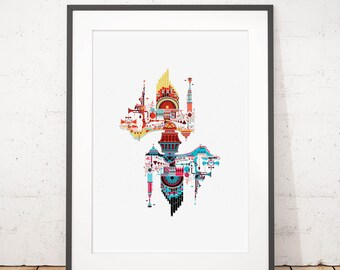A Bizarre collection of Curios. A Pink Floyd inspired Illustrated poster print. Matte and Giclee Art Prints in A3 or A2 sizes.
