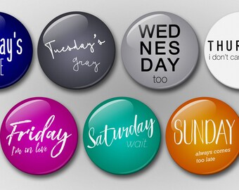 Days of the Week Magnet Set (7 magnets) - The Cure Magnet Set - Pop Culture Magnets - Refrigerator Magnets - Magnets - Daily Magnets