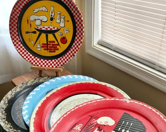 A Lot of Five Vintage 1950's Large Tound Metal Trays with a Varity of Mid Century Themes