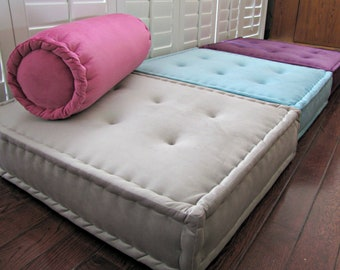 Multi-colored Velvet Floor Cushions, French Mattress Quilting, Hand Tufted Sofa Cushions, Window Seat or Bench Seat Cushion, Daybed Mattress
