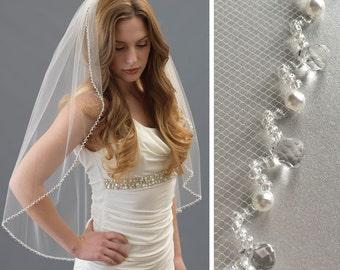 Crystal & Pearl Bridal Veil, Crystal Beaded Wedding Veil, Crystal Veil, Pearl Veil, Beaded Veil, Veil with Beads, Veil with Pearls ~VB-5056