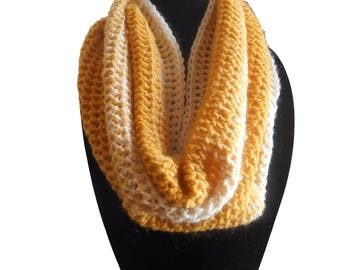 Infinity Scarf Cowl in Mustard and Cream Yellow Handmade by Rosas Accessories FREE SHIPPING In Stock Ready to Ship