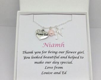 Flower girl necklace, flower girl gift, personalised flower girl gift, gift for flower girls, bridesmaid gift