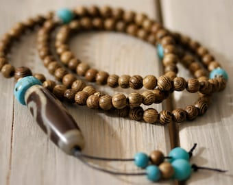 Mala Necklace 108, Mala Necklace With DZI Bead, Wood Mala Necklace, Boho Mala Necklace,  Mala Turquoise Necklace
