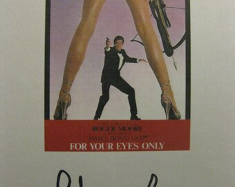 For Your Eyes Only Signed Film Movie Script Screenplay X2 Autographs James Bond 007 Roger Moore Lois Maxwell signatures classic bond film