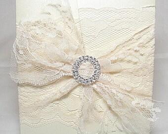 Lace Wedding Invitation, Lace Wedding Invite, Wedding Invitations, Vintage Wedding Invite,  Rustic invite,  Pocketfold Invite ROSIE-1