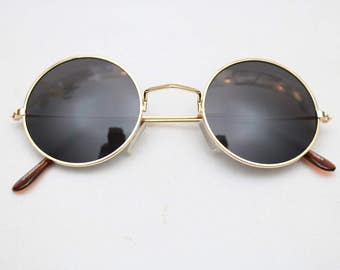 "Vintage ""GENESIS"" Black & Gold JOHN LENNON Round Sunglasses"