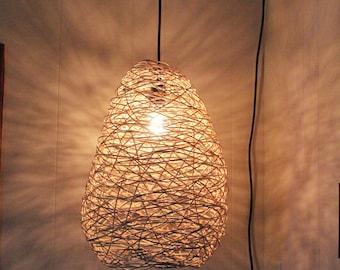 Egg shaped random weave basket pendant light