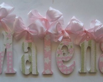 Custom Nursery Name- Baby Girl Nursery Decor -Nursery Wall Letters- Personalized Name- Wooden Hanging Letters - GLITTERED