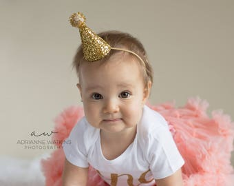 Mini Glittery Birthday Girl Party Hat First Birthday, Baby, Birthday, cake smash, 1st birthday, baby girl birthday, birthday