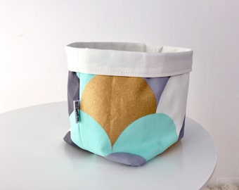 Panier de rangement tissu - menthe, pétoncles or et gris. Panier réversible, cadeau de shower de bébé, rangement salle de bain, rangement chambre d'enfant, pochette en tissu
