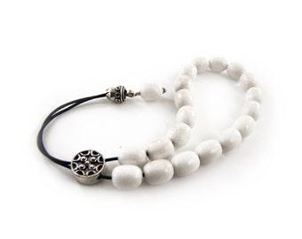 Worry Beads, White Jade Beads, Silver Master Bead on Black Cord, Komboloi
